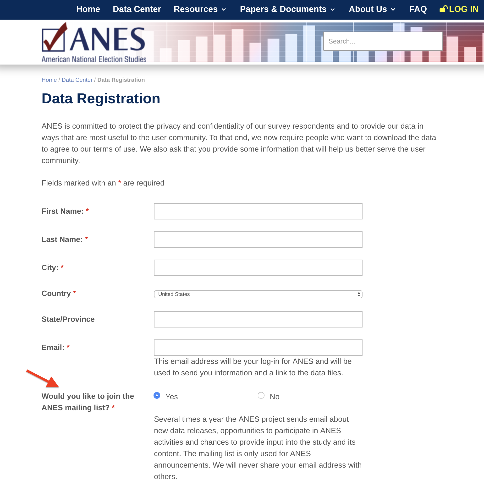 Data registration form